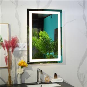 Frameless rectangle LED lighted bathroom makeup mirror