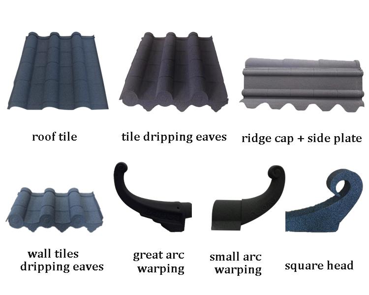 Tuiles de toit en métal enduit de pierre