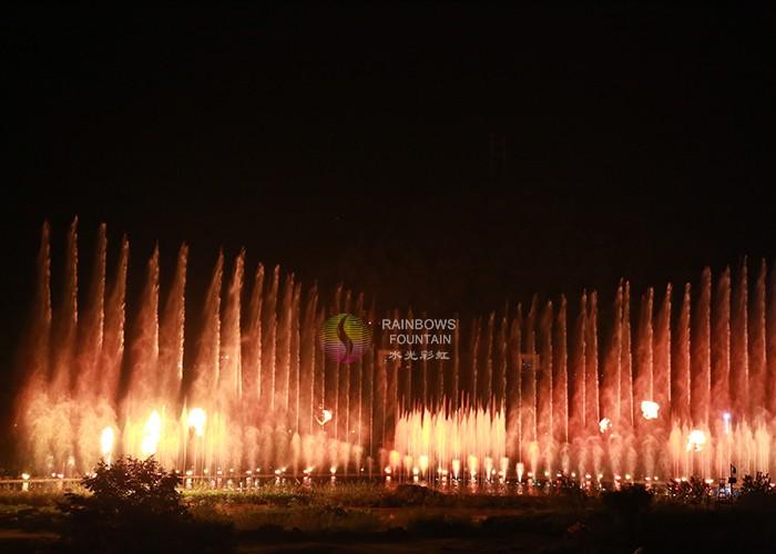 Открытый водный объект Ночной фонтан огня