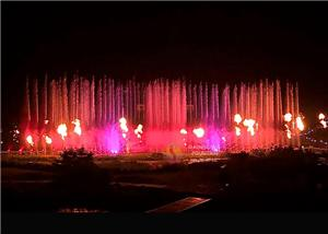 Outdoor Sea Water Fire Fountain With Lights