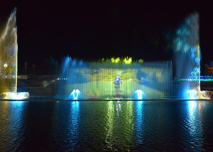 Fontanna do projekcji wody na zewnątrz Fontanna z ekranem