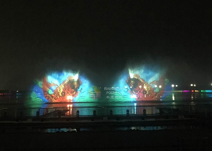 Fontanna z hologramem z ekranem wodnym