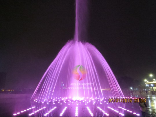 Large outdoor circle water musical dry fountain with LED light project For Shunde Desheng Center Plaza