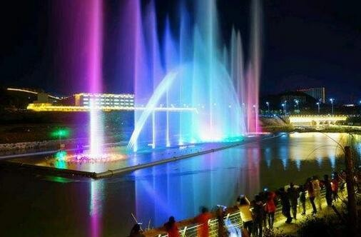 Modern large musical floating water fountain and water screen movie projection show for TONGREN RIVER, GUIZHOU