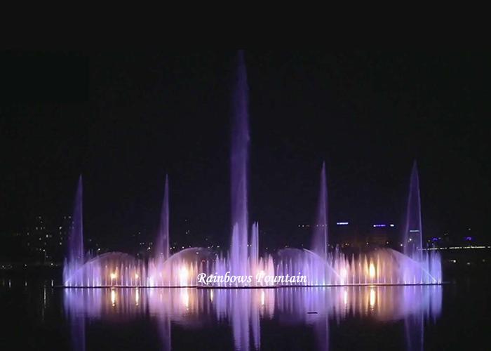 Bangladesz 120m jezioro pływające muzyczne tańczące fontanny wodne z kolorowymi światłami DMX 512