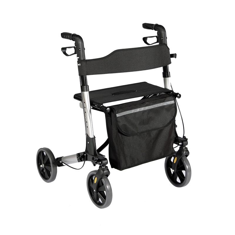 Rollator för fyra hjul Walker med shoppingpåsen