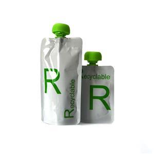 Bolsas Stand Up com líquido de jato em materiais de embalagem recicláveis
