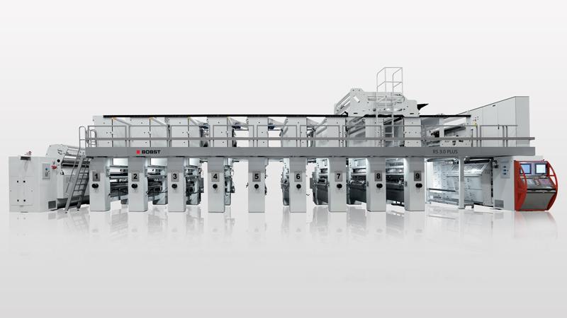 Máquina de impressão de alta velocidade com eixo eletrônico BOBST com função de pré-impressão