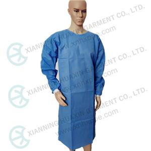 Blue SMS Isolation gown with ties and thread cuff