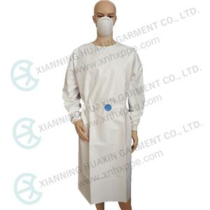 CE certificated EN14126 TYPE6B white microporous gown with thread cuff