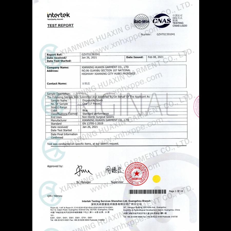 EN13795-1 tests