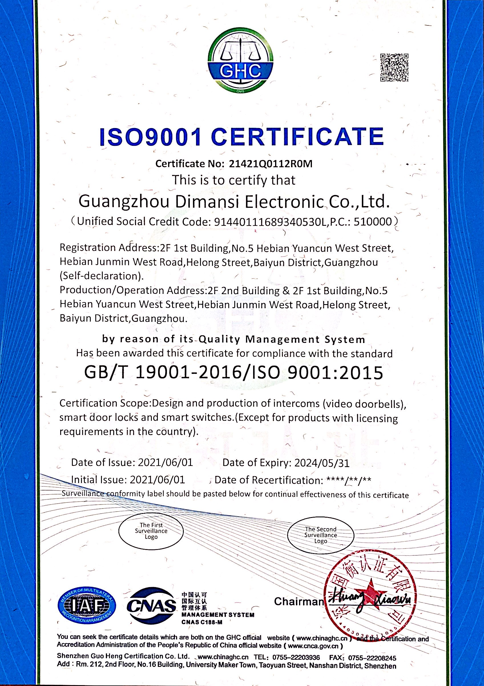ISO 9001 Certificate Updated