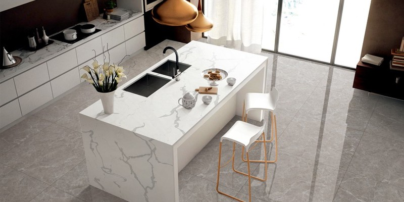 Inorganic Quartz Jumbo Slab Solid Color For outdoor living Island Countertop And Table Top