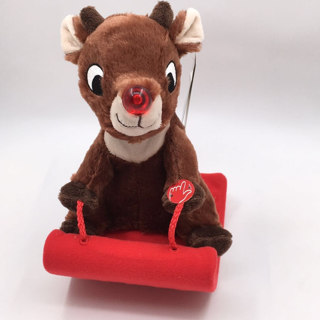 Singing Plush Penguin And Reindeer With Sleigh