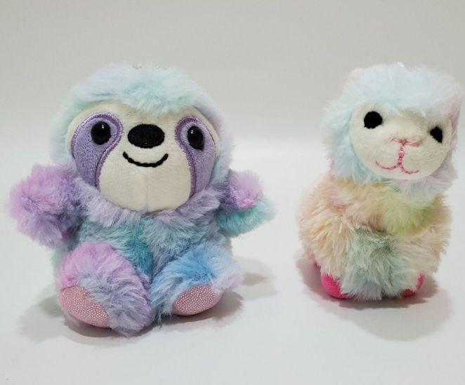 sloth and llama plush keychains