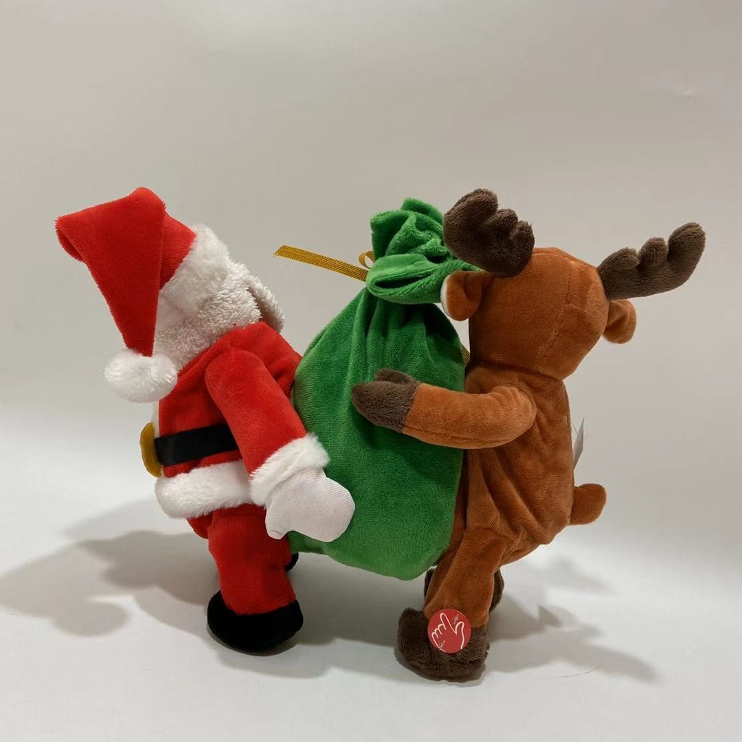 Plush Reindeer And Santa Toy Dancing With The Gifts Manufacturers, Plush Reindeer And Santa Toy Dancing With The Gifts Factory, Supply Plush Reindeer And Santa Toy Dancing With The Gifts