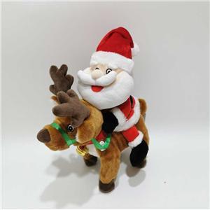 Plush Singing And Dancing Santa Riding Reindeer