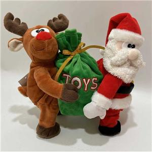 Plush Reindeer And Santa Toy Dancing With The Gifts