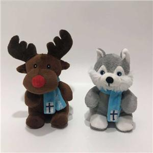 Stuffed Small Reindeer & Husky Plush Toy With Scarf