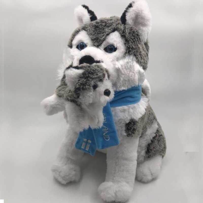 Lifelike Plush Mother And Child Husky Toy