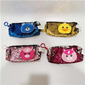 4 Asst Animal Sequin Small Pencil Bags For Kids