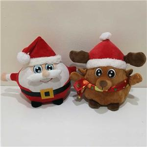 Spinning Santa And Reindeer Round Plush Toy