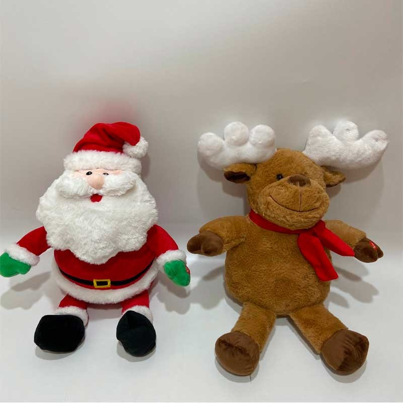 Plush Santa And Reindeer With LED Lights