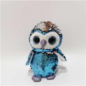 Plush Flip Sequin Owl Toy Can Talk Back