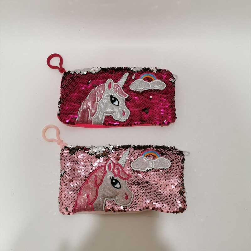 2 Asst Unicorn Animal Sequin Pencil Bag