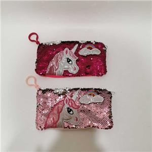 2 Asst Unicorn Animal Sequin Pencil Bag