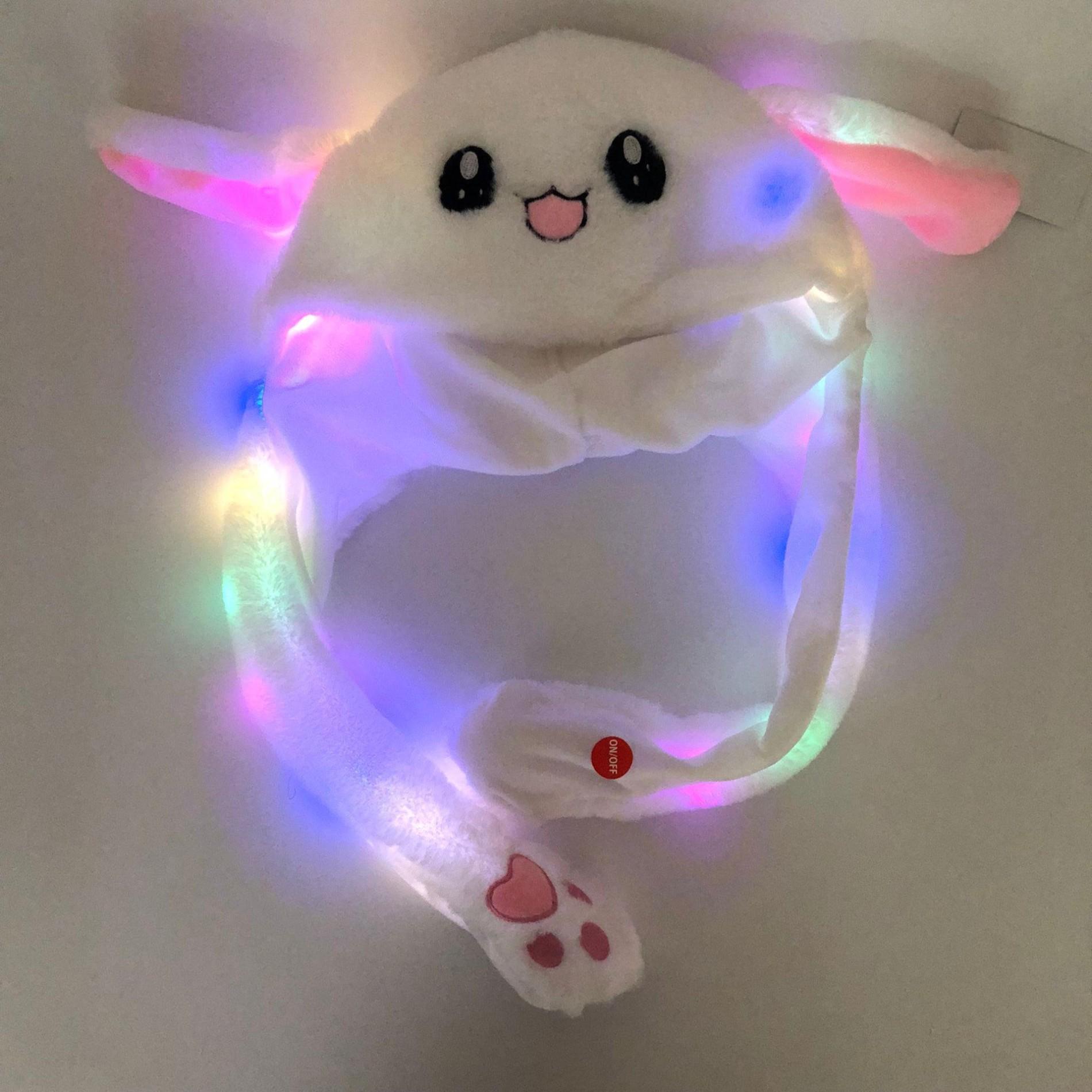 Funny Lighting Hat Cute Rabbit Ears Can Move Cap