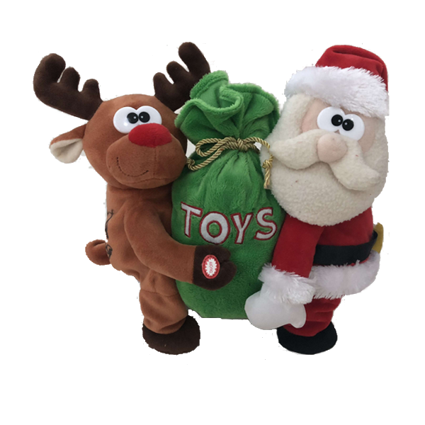 OEM XAMS Plush Reindeer And Santa Toy Dancing With The Gifts