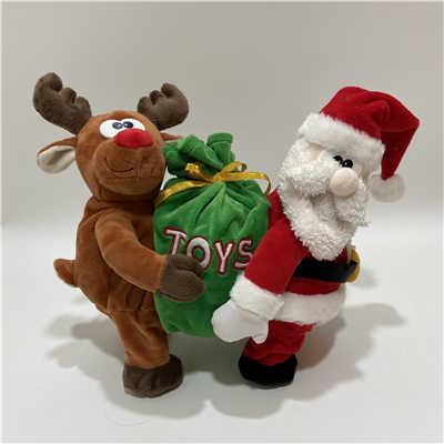 Plush Rendeer and Santa