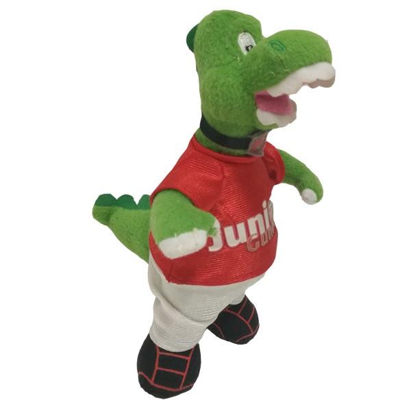 Équipe de football mascotte dinosaure en peluche