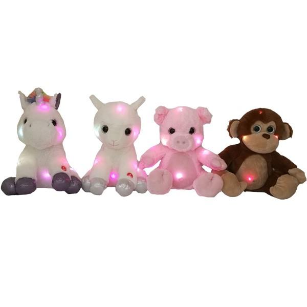 4 juguetes de animales de peluche adorables Asst con LED