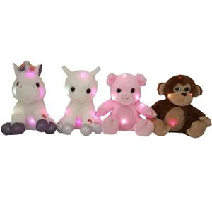 4 Asst Adorable Plush Animals Toys With LED