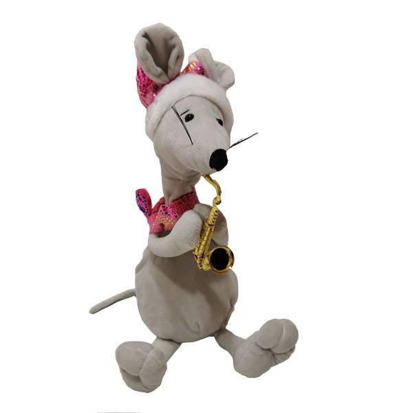 Juguete lindo del ratón con cuello móvil con saxofón