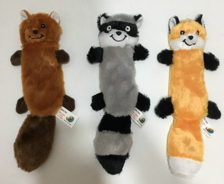 OEM wholesale no stuffed pet plush toy with Squeakers crinkle paper