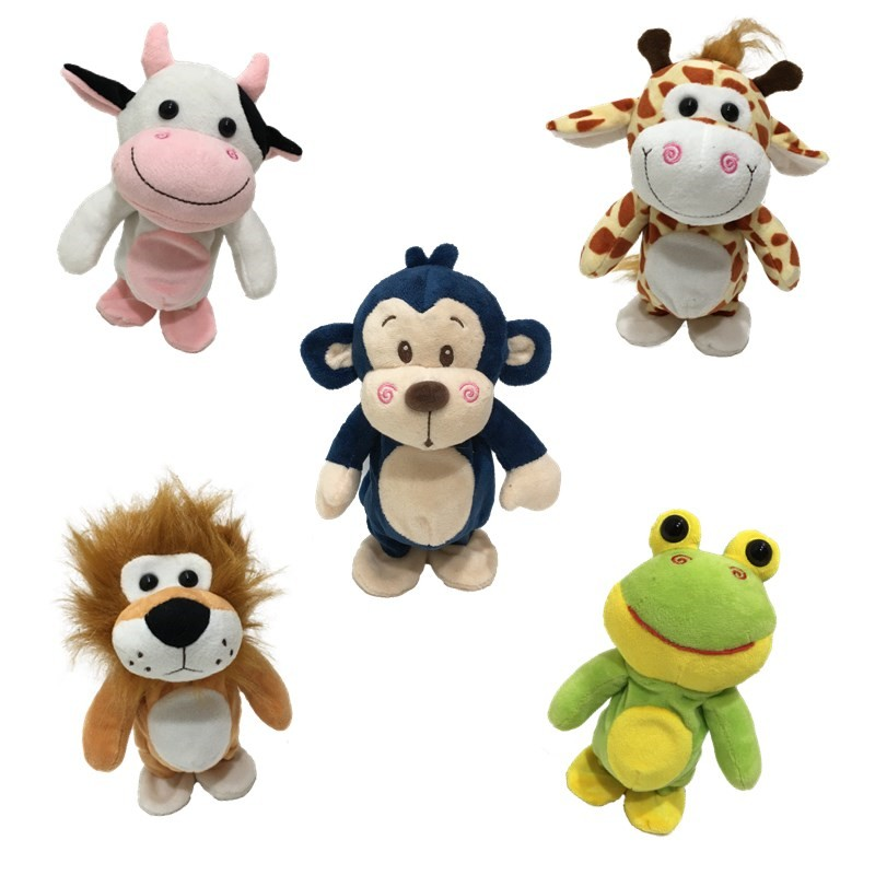 OEM Animated talking back toy Voice repeating and shaking wild animal plush toy lion bear monkey giraffe cow