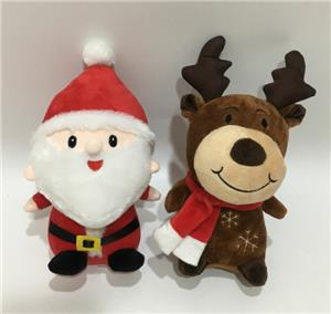 Chinese factory OEM Soft Santa Elf Reindeer Toy With Lights And Music box