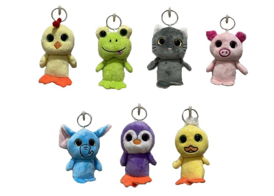 OEM multi styles cheap tiny plush animal keychain big eyes