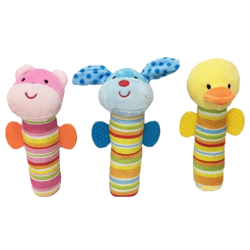 3 Asstd Animal Ruddle Teether Peluche para bebé