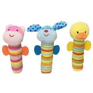 3 Asstd Animal Ruddle Teether Baby Plush Toy
