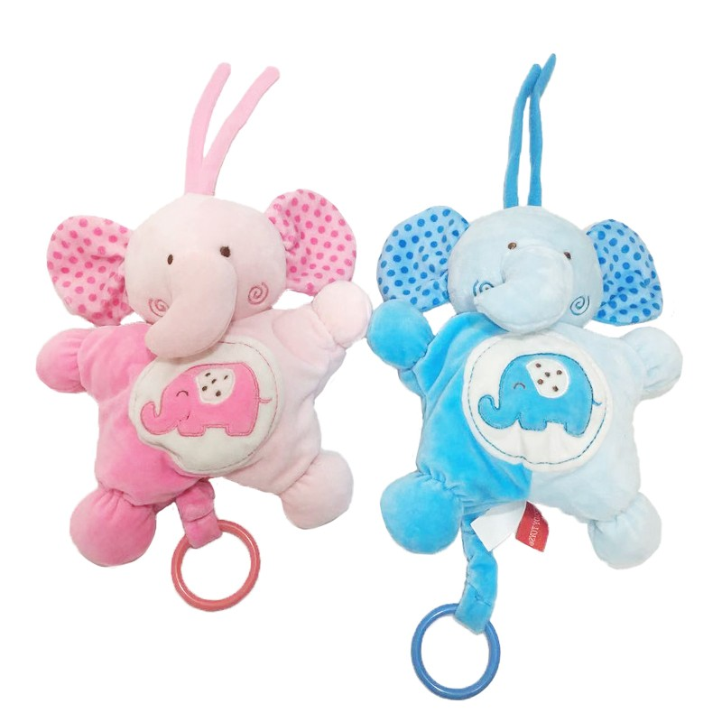 A Pair of Elephant Cuddle Baby Plush Toy with Music Box