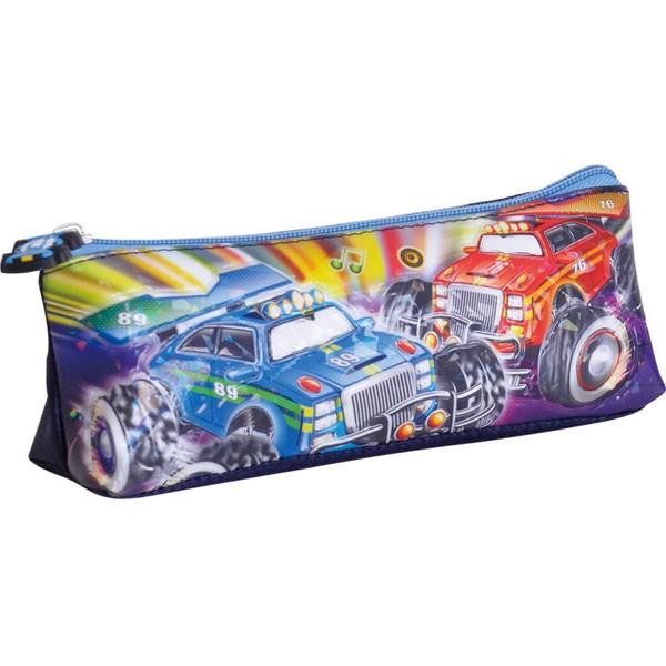 High frequency voltage cartoon-car PVC pencil case for boys