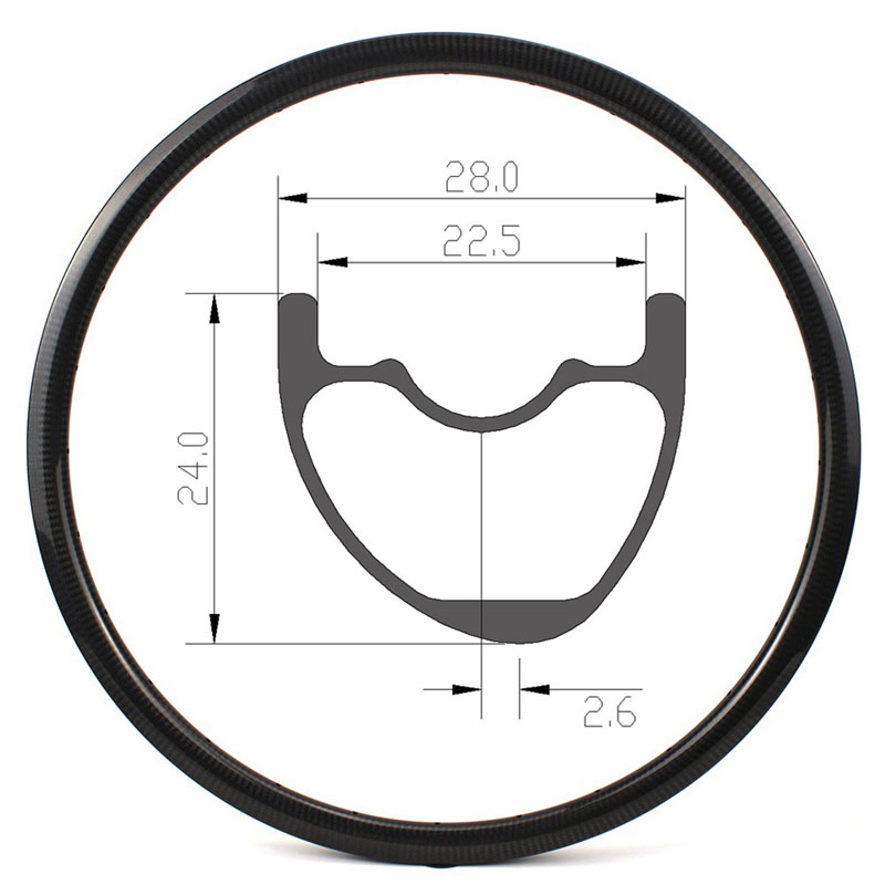 29er Mountain Bike Rims 28mm Width Asymmetric
