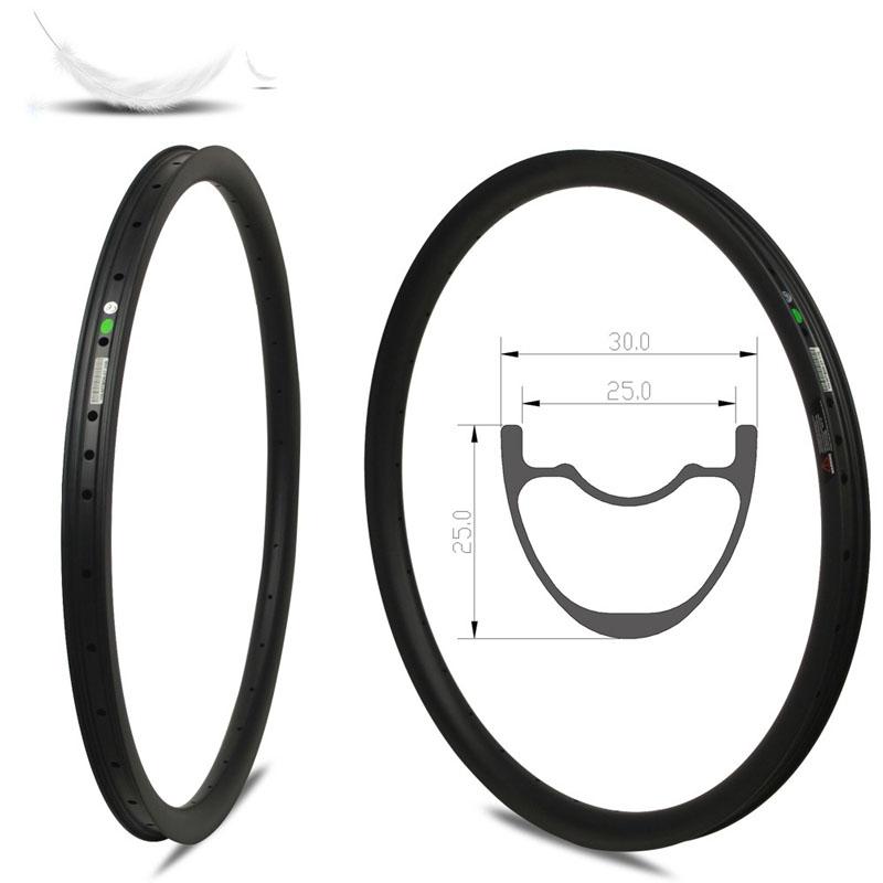 29er Mtb Carbon Rims 30mm Width 25mm Depth Hookless symmetric