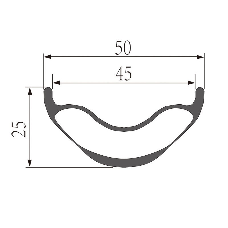 29er Mtb Rims 50mm width 25mm depth Hookless Rims