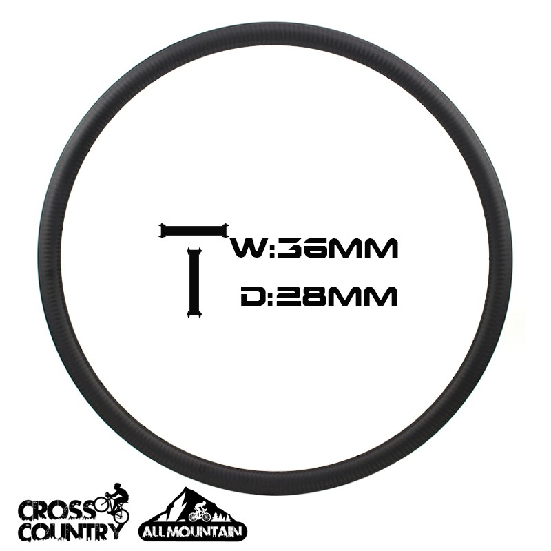 27.5er Mountain Bike Rims 36mm Width Asymmetric 28mm depth