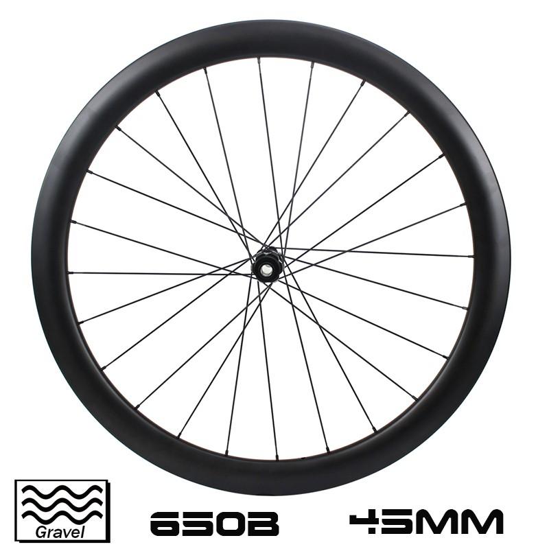 650B Carbon Gravel Bike Wheelset 45mm depth 30oo outer width Disc Brake Tubeless